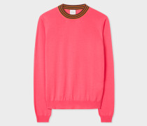 Bright Pink Wool Sweater With 'Artist Stripe' Collar