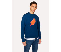 Blue 'Ice Lolly' Intarsia Merino Wool Sweater