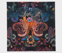 Black 'Monkey' Print Silk Pocket Square