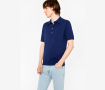 Indigo Knitted Cotton Polo Shirt With Petrol Collar Tipping