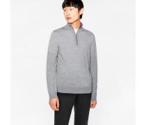 Light Grey-Marl Merino Wool Funnel Neck Sweater