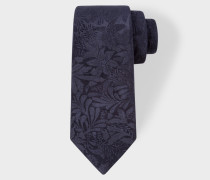 Navy Tonal Floral Embroidery Narrow Silk Tie