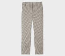 Slim-Fit Cream Check Stretch-Cotton Trousers