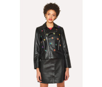 Black Leather Biker Jacket With 'Kyoto Floral' Embroidery