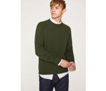 Khaki Merino Wool Raglan Sleeve Sweater
