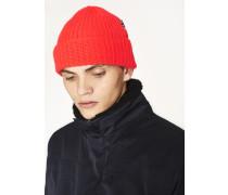 Neon Red Wool Beanie Hat
