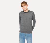 Grey Marl Merino-Wool Sweater With Contrast Collar