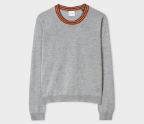 Grey Wool Sweater With 'Artist Stripe' Collar