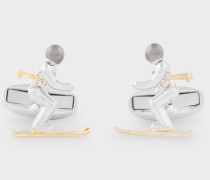 Silver And Gold Skier Cufflinks