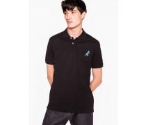 Black Cotton-Piqué Embroidered 'Dino' Polo Shirt