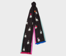 Black 'Rabbit' Print Scarf With Polka Dots