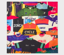'Cycling Jersey' Print Silk Pocket Square