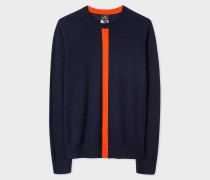 Navy Wool Sweater with Orange Stripe