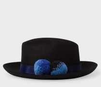 Black Wool Trilby With Pom-Poms