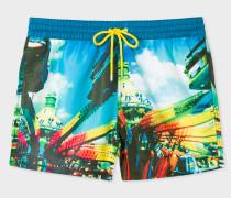 Multi-Coloured 'Brighton Photo' Print Swim Shorts