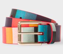 'Artist Stripe' Print Leather Belt