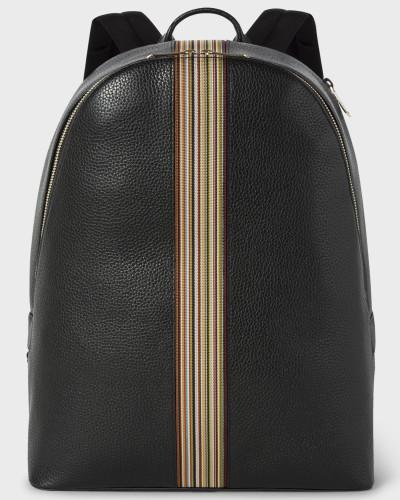 Black Leather Signature Stripe Backpack