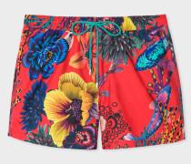 Red 'Ocean' Print Swim Shorts