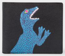 Black 'Dino' Print Leather Billfold Wallet