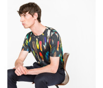 Slim-Fit Black 'Feather' Print T-Shirt