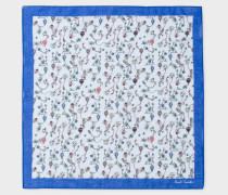 Light Grey And Multi-Coloured Floral Print Pocket Square