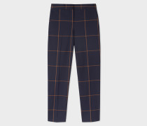 Classic-Fit Navy Windowpane-Check Wool Trousers