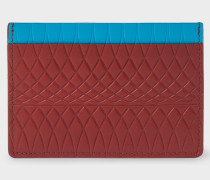No.9 - Brick Red Leather Card Holder With Multi-Coloured Card Slots