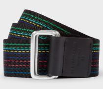 'Cycle Stripe' Canvas Double Buckle Belt