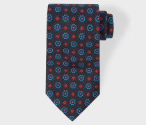 Navy 'Diamond Floral' Motif Silk Tie