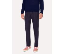 Slim-Fit Dark Navy Linen Trousers