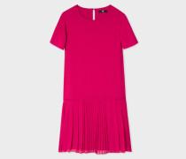 Fuchsia Dress With Pleated Hem