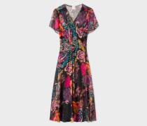 Black 'Ocean' Print Silk-Blend Midi Dress