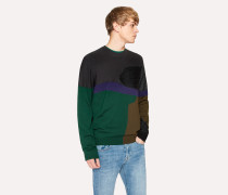Grey Colour-Block Textured-Knit Sweater