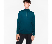 Dark Teal Merino Wool Half-Zip Sweater