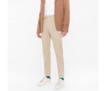 Stone Brushed Cotton Tapered Trousers