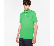 Slim-Fit Green Cotton-Piqué Polo Shirt With Embroidered 'Peace' Symbol