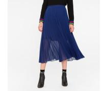 Indigo Pleated Midi Skirt