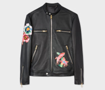 Black Leather Motorcycle Jacket With 'Ocean' Detail