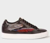 Black Leather 'Basso' Trainers With Feather Embroidery