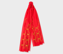 Red Embroidered Dog Pattern Wool Scarf