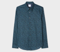 Tailored-Fit Navy 'Dandelion' Print Cotton Shirt
