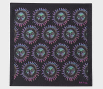 Black 'Sun' Print Silk Pocket Square