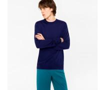 Indigo Merino Wool Crew Neck Sweater