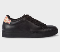 Black Leather 'Basso' Trainers With Signature Stripe Trims
