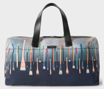 Canvas And Leather 'Paint Brush' Print Holdall