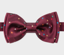 Burgundy Embroidered 'Stars' Silk Bow Tie