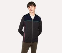 Grey Marl And Navy Colour-Block Merino Wool Funnel-Neck Zip Sweater