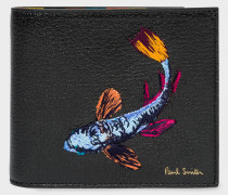 Black 'Koi Carp' Embroidered Leather Billfold Wallet