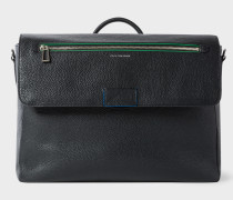 Black Textured Leather Messenger Bag