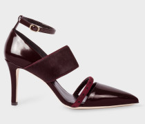 Burgundy Leather And Calf Hair 'Nora' Shoes